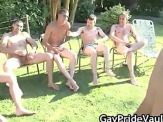 outdoor homo group sex engulf fest part3