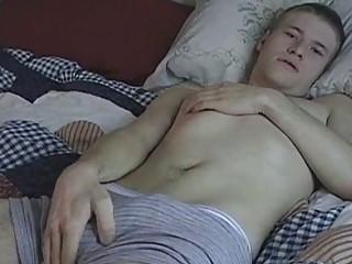 blonde homo jerking off in the bedroom