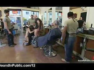 leashed homo gives blowjobs and handjobs in public