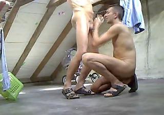 3 guys blow jerking anal drilling on attic garret