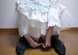 japanese ladyman in bloomers dildos and cums for