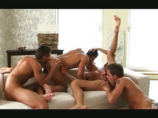 four valuable looking homosexual guys having wild