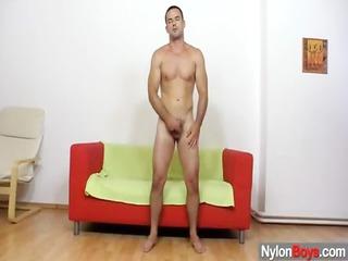 homosexual messy cum explosion on nylon pantyhose