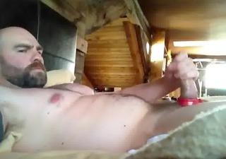 sexy beared jerk-off