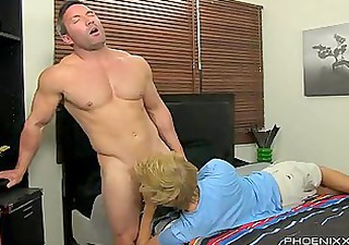 riding a straight muscle fella
