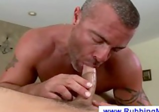 masseuse puts a chaps cock in his face hole