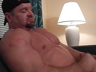 bearded homo hunk jerks off his fat penis