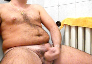 wanking my hard jock in the baths with mega