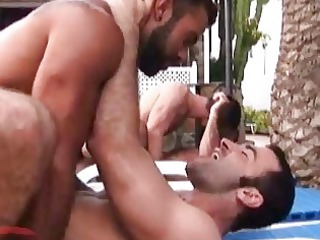 beefy gay studs having wild group sex outdoors