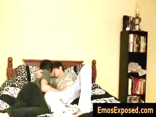 cute youthful emos having homosexual sex on bed