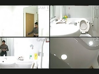 homo guy caught pissing in the washroom