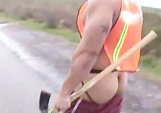 sagging construction worker