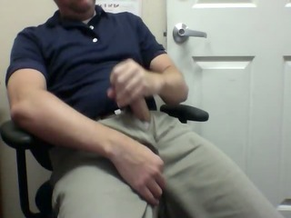 quick cum in back office at work