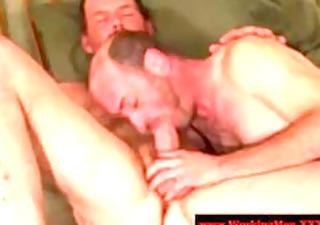 bushy straight trucker giving oral fun