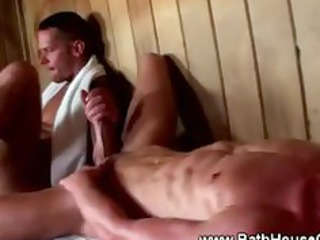 sexy homo cockstarved men in sauna orgy