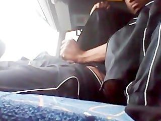webcam bus ride jacking & cummin a large cock