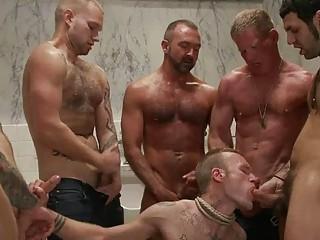 gracious tattoed gay hunk got bondaged and gang