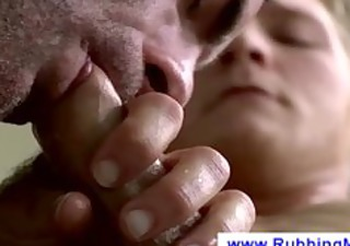 blond chap gets a orall-service from a masseur